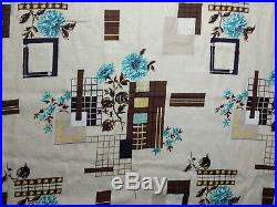 VTG Mid-Century Modern Barkcloth Curtain Panels Geometric Abstract Floral Atomic