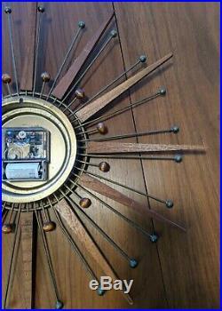 VTG Mid-Century Modern Starburst Atomic Wall Clock Westclox Nocord Wood Sunburst