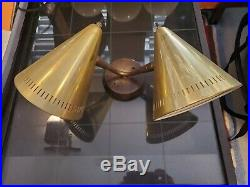 VTG True Mid Century Modern Double Cone Atomic WALL SCONCE Light Lamp MCM NICE