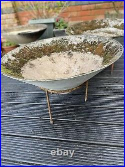 Vintage 1950s 60s Concrete Cone Planters Willy guhl Mid Century Atomic Tri Pod