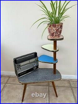 Vintage 1950s 60s Formica Colourful Atomic Plant Stand Mid-Century Retro space