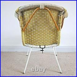 Vintage 1950s Atomic woven plastic Satellite Bucket chair. Mid Century Modernist
