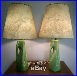 Vintage 1950s Green Lamps Ceramic Atomic Fiberglass Shade Mid Century Modern