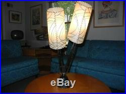 Vintage 1950s Majestic Lamp Fiberglass Shades Mid Century Modern Atomic