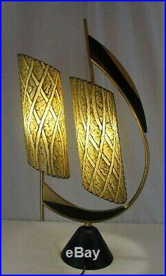Vintage 1950s Mid Century MAJESTIC Atomic Boomerang Table Lamp Light w Shades