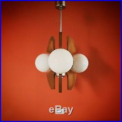 Vintage 1960-65 Hungarian atomic wood metal glass pendant ceiling light
