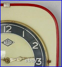 Vintage 25cm FBL Formica Wall Clock French Retro Wind Up Mid Century Atomic