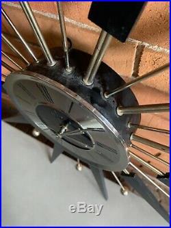 Vintage 50s 60s ELGIN Starburst Atomic Era Wall Hanging Clock Mid Century Modern