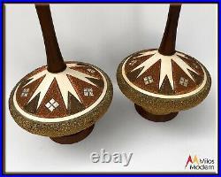 Vintage 60s Mid Century Modern Pair of Atomic Orange White Walnut Table Lamps
