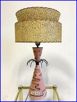 Vintage Atomic Sputnik Pink Danish Mid Century Modern Table Desk Lamp Light 60s