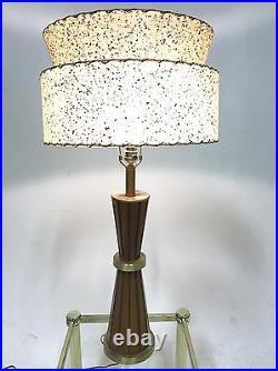 Vintage Atomic Sputnik Teak Brass Wood Danish Mid Century Modern Table Desk Lamp