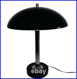 Vintage Black Chrome Flying Saucer Table Desk lamp Mid Century Modern MCM Atomic