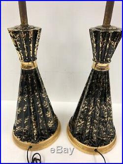 Vintage CERAMIC TABLE LAMP PAIR black gold Mid Century Modern 1950s atomic set 2