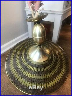 Vintage Ceiling Light Mid-Century Atomic Retro Brass Blown Glass Hanging UFO