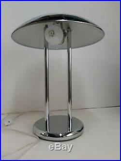 Vintage Chrome Saucer Table / Desk lamp Mid Century Modern Table lamp MCM Atomic