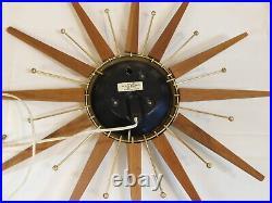 Vintage Clock Westclox Mid Century Modern Atomic Starburst Brass Electric