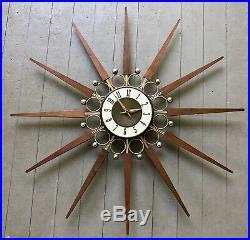 Vintage ELGIN Starburst Atomic Wall Clock Mid Century walnut wood MCM Rare