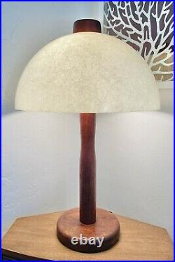 Vintage Early Mid-Century Modern Mushroom LampTeakFiberglass ShadeAtomic Era