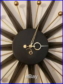 Vintage French Mid Century Modern Atomic Starburst Mechanical Wind-Up Wall Clock