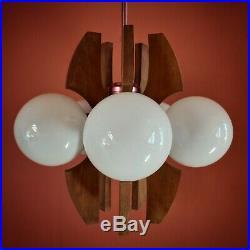 Vintage Hungarian atomic 5 globe wood metal opaline glass pendant ceiling light