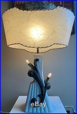 Vintage Leslie China Chalkware Lamp Fiberglass Shade Mid Century Modern Atomic B