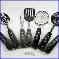 Vintage Lot of 7 EKCO Black Atomic Starburst Kitchen Utensil Set Mid-Century MCM