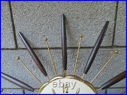 Vintage Lux Robert Shaw Mid Century Atomic Sunburst Regency Wall Clock