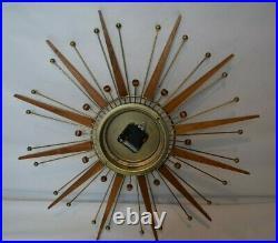 Vintage MCM Sunburst Clock Westclox Nocord Mid Century Modern Atomic Starburst