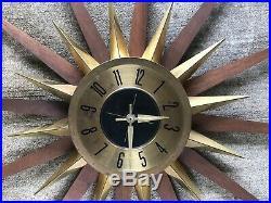 Vintage MID CENTURY Starburst Atomic Wall Clock Danish Wood with Metal