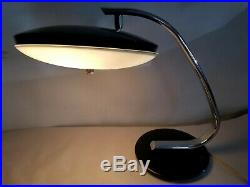 Vintage Mid Century Chrome Black Desk Table Lamp Flying Saucers Atomic UFO 1960s