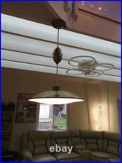 Vintage Mid Century Modern Atomic Flying Saucer Retractable Light Fixture