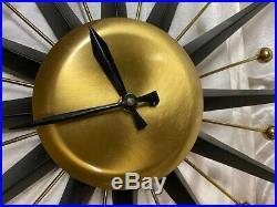 Vintage Mid Century Modern Atomic Starburst Mechanical Wind-Up Wall Clock