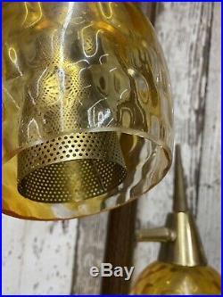 Vintage Mid Century Modern Atomic Tension Pole Floor Lamp Amber Globes