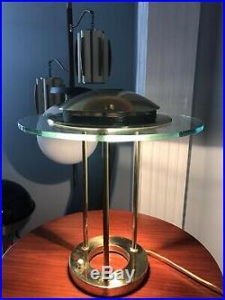 Vintage Mid Century Modern Brass Sonneman Saucer Desk Lamp Kovacs MCM UFO Atomic