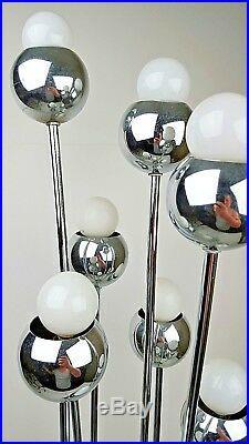 Vintage Mid Century Modern Chrome Sputnik Atomic 8 Bulb Lamp 38 Tall Tested