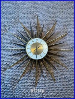 Vintage Mid Century Modern Elgin 24 Starburst Wall Clock Atomic MCM