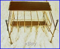 Vintage Mid Century Modern Magazine Rack Stand Brass Danish Atomic Furniture