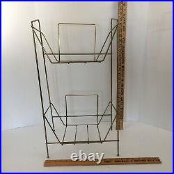 Vintage Mid Century Modern Metal Wire RECORD Holder Rack STAND LP'S Atomic Style