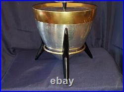 Vintage Mid Century Modern Mirro Bullet Ice Bucket on Tripod Stand Retro Atomic
