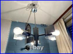 Vintage Mid Century Pendant Space Age Chrome Lamp Ceiling Atomic Design Light