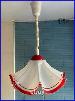 Vintage Mid Century Pendant Space Age Lamp Ceiling Atomic Design Light Plastic