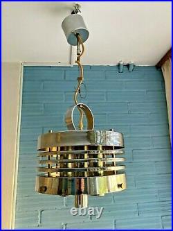 Vintage Mid Century Pendant Space Age UFO Lamp Ceiling Atomic Design Light