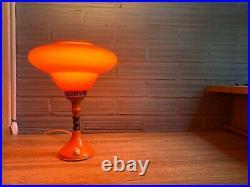 Vintage Mid Century Space Age Lamp Table Atomic Design Light Metal UFO Orange