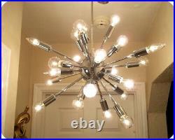 Vintage Mid Century Sputnik Chandelier Light Lamp Atomic 24 Arm