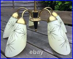 Vintage Midcentury Modern 1950s Sputnik Atomic Brass Ceiling Light Glass Shades