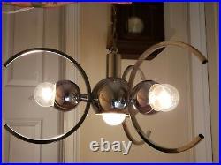 Vintage Modernist Mid Century Chrome Atomic Sputnik Ceiling Lamp Light Fixture