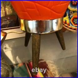 Vintage PAIR Mid Century Modern MCM Beehive Lamp Orange Teak Tripod Legs Atomic