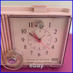 Vintage PINK RCA Victor Radio Clock RFD15P MCM Mid Century Atomic Princess 1950s