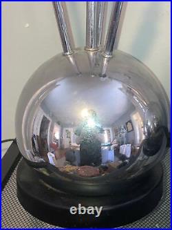 Vintage Pair (2) Mid Century Modern Sputnik Atomic Ball Orb Chrome Table Lamps