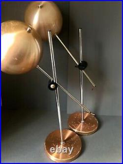 Vintage Pair Robert Sonneman Style Eyeball Lamps Atomic Mid Century